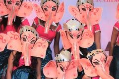 Ganesha舞蹈家,伦敦,英国 2016年10月16日, Dewali执行者和场面伦敦节日的市长在特拉法加广场 库存图片