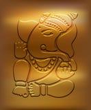 Ganesha - μεταλλικό χρυσό σχέδιο Στοκ Εικόνες