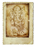 Ganesha. Of a series of Indian gods - pencil drawing on an old background - Ganesha Royalty Free Stock Image