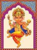 Ganesha auf ein verzierten Bögen des Hintergrundes Muster lizenzfreie abbildung