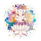 Ganesha bóg i lotosowy kwiat Obraz Royalty Free