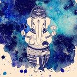 Ganesha bóg na akwareli tle ilustracja wektor