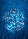Ganesha Blue Texture阁下作用墙壁框架海报 库存图片
