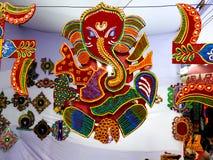 Ganesha Colourful Scolpire-India di legno fotografia stock libera da diritti