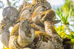 Ganesha coverd by moss in the park.  stock photography
