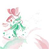Ganesha dancing in water colors. Royalty Free Stock Image