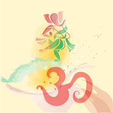 Ganesha dancing in water colors. Royalty Free Stock Photography