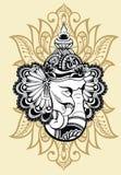 Ganesha decorativo con fondo floreale illustrazione di stock