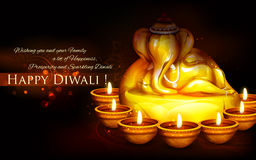 Ganesha with diya on  happy Diwali Holiday background for light festival of India Stock Images