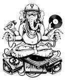Ganesha Dj sammanträde på elektroniskt musikaliskt material royaltyfri illustrationer