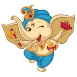 Ganesha elephant cartoon baby illustration for traditional Ganesha Chaturthi Indian Hindu holiday greeting card stock illustration