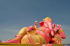 Ganesha the god of arts. The biggest pink Ganesha in Thailand Stock Images