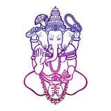 ganesha God van wijsheid en welvaart in Hindoeïsme lineaire stijl stock illustratie