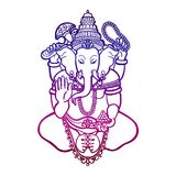 Ganesha. God of wisdom and prosperity in Hinduism. Linear style. Vector illustration Stock Images