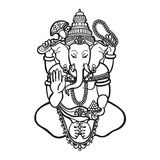 Ganesha. God of wisdom and prosperity in Hinduism. Linear style. Vector illustration Stock Photos