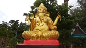 Ganesha Gold. The largest to be built in to the idols. It is believed that a holy God with an elephant head. Arms and hands are at 4, the son of Vishnu Stock Photos