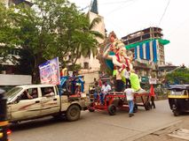 Ganesha idol being transported in Mumbai Royalty Free Stock Image