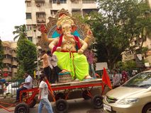 Ganesha idol being transported in Mumbai Stock Photography