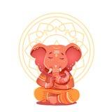 Ganesha illustration i lotusblommapositionen stock illustrationer