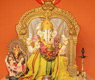 Ganesha the Lord of Success. Ganesha idol in Hindu temple. The Lord of Success, son of Shiva and Parvati, destroyer of evils and obstacles. He is also worshiped stock photography