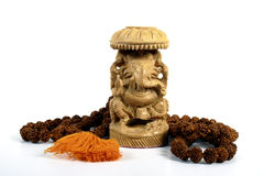 Ganesha mit Gebet-Kornen Stockfotos