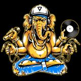 Ganesha with Musical Attributes Vector. Ganesha with musical attributes: headphones, vinyl record, microphone and wires in hands. Ganesha b-boy weared in vector illustration