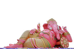 Ganesha. Pink ganesha in relaxing protrait on white background,Wat Samarn, Chachoengsao,Thailand Stock Image