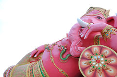 Ganesha. Pink ganesha in relaxing protrait on white background,Wat Samarn, Chachoengsao,Thailand Stock Images