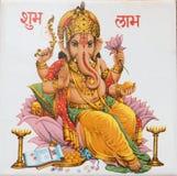 Ganesha sitting on lotus flower, India. Antique ceramic tile with Ganesha sitting on lotus flower, India Royalty Free Stock Photography