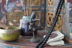Free Ganesha Sound Healing Bowl Incense And Mala Altar Stock Image - 157131201