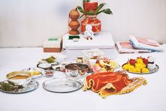 The worship items for thread ceremony puja, pooja focus on the stock images