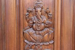 Ganesha on Teakwood Door Royalty Free Stock Photo