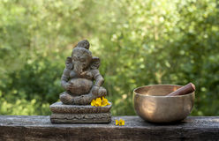 Ganesha and tibetan bowl Royalty Free Stock Image