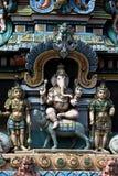 Ganesha on Vehicle, Tiruchirapalli. Statue of Ganesha seated on his vehicle Mushika on Gopura Tower of Jambkeshwara Temple, Tiruchirapalli, Tamil Nadu, India stock photo