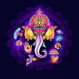 Ganesha vom Stein Hand gezeichnete Stammes- Art Vektor Lizenzfreie Stockbilder