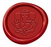 Ganesha-Zeichen-Rot-Wachssiegel Lizenzfreies Stockfoto