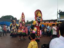 Ganeshotsava. Or god ganapathi procession 2nd day of chowthi festival grand and god decorated beautifully and evening at badiadka kasaragod district of Kerala Stock Images