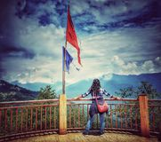 Ganeshtok,Sikkim, India, September 2018. An unidentified tourist enjoying the view at Ganeshtok view point in Sikkim,India during royalty free stock photo