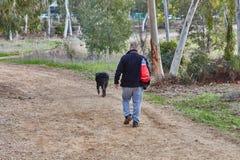 Ganey Aviv - 2016年12月02日:一个人走与他的在f的狗 库存照片