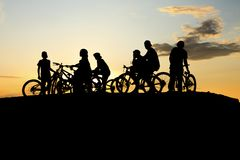Gang Bike and yellow sunset Stock Image