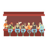 Gang Of Bikers And One Skinny Young Guy Stting At The Counter With Calm Barmen Behind , Beer Bar And Criminal Looking. Muscly Men Having Good Time Illustration Royalty Free Stock Photos