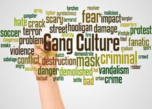 Gang Culture word cloud and hand with marker concept. On white background stock photography