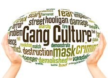 Gang Culture word cloud hand sphere concept. On white background royalty free stock photo