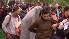 Gang in de hoop van een juiste leven-Europese toevluchtsoordencrisis stock footage