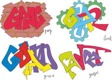 Gang, gear, guard and gadget graffiti. Set of four graffiti sketches - gang, gear, guard and gadget Stock Photography
