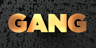 Gang - Gold text on black background - 3D rendered royalty free stock picture. This image can be used for an online website banner ad or a print postcard Stock Photography