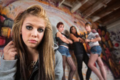 Gang Intimidating Girl Royalty Free Stock Image