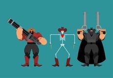 Gang kowbojów bandyci Kowboja i pistoletu set na zachód, dziki rewolwerowiec człowiek western royalty ilustracja