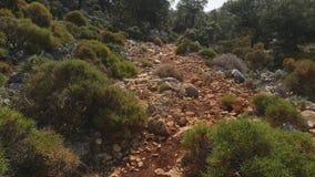 Gang langs de weg die met kleine stenen wordt uitgestrooid stock video