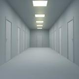 Gang met gesloten deuren en verlichting 3D Illustratie royalty-vrije illustratie